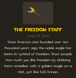 Freedom staff melee weapon for all TF2 classes description
