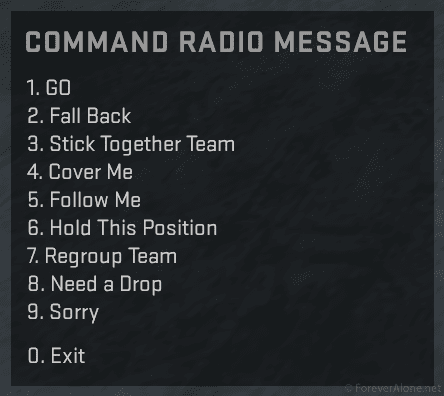 CSGO Command Radio messages with extended options