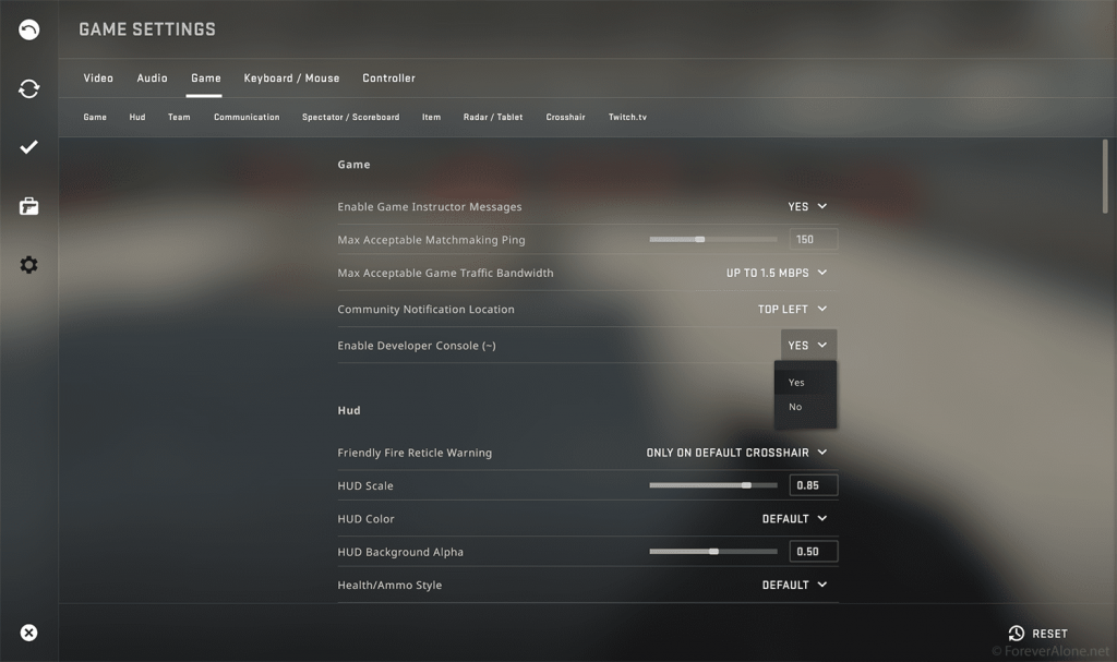 CSGO settings menu showing where you can enable the developer console
