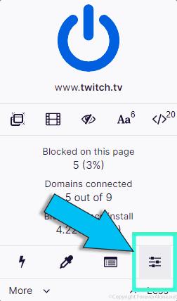 uBlock origin open the dashboard button location