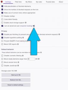 ublock origin advanced settings gears