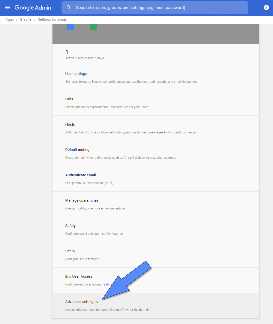 Gmail advanced settings location